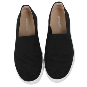 Shoes - Black Knitted White Rubber Sole Loafer